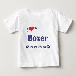 Amo a mi boxeador (el perro femenino) playera de bebé