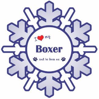 Amo a mi boxeador (el perro masculino) adorno fotoescultura