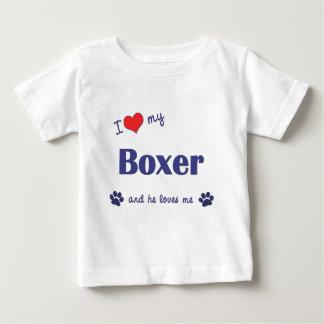 Amo a mi boxeador (el perro masculino) playera de bebé