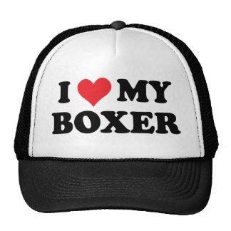 Amo a mi boxeador gorro de camionero