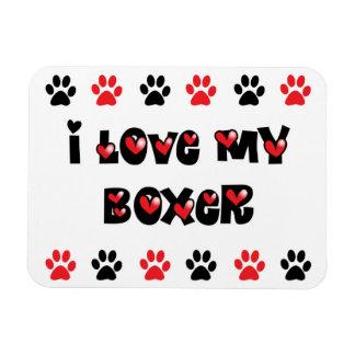 Amo a mi boxeador imanes rectangulares