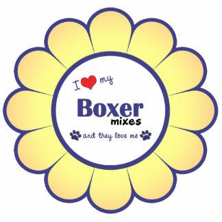 Amo a mi boxeador me mezclo (los perros múltiples) adorno fotoescultura