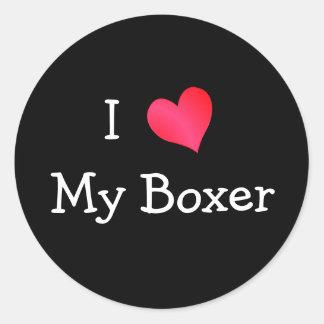 Amo a mi boxeador pegatinas redondas