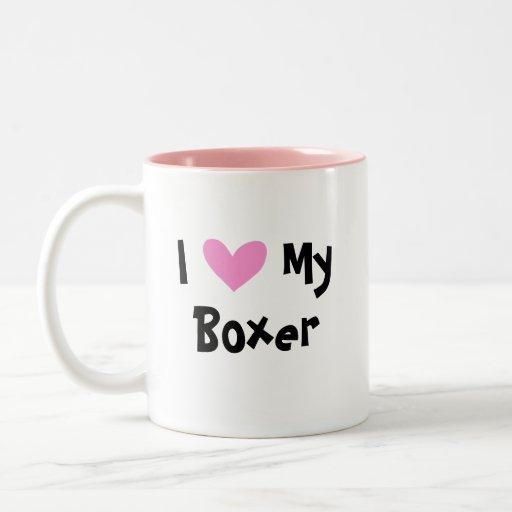 Amo a mi boxeador taza de dos tonos