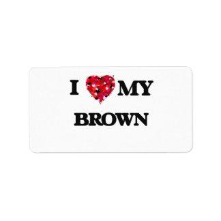 Amo a MI Brown Etiquetas De Dirección