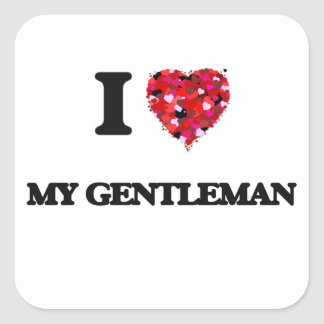 Amo a mi caballero pegatina cuadrada