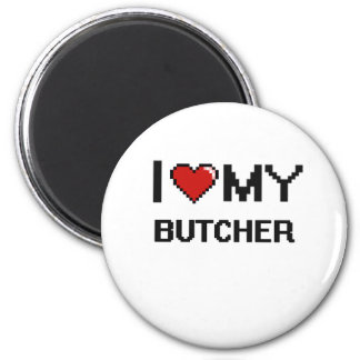 Amo a mi carnicero imán redondo 5 cm