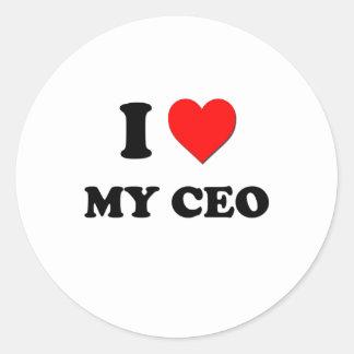 Amo a mi CEO Pegatina Redonda