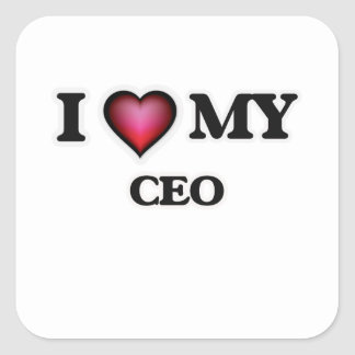 Amo a mi CEO Pegatina Cuadrada