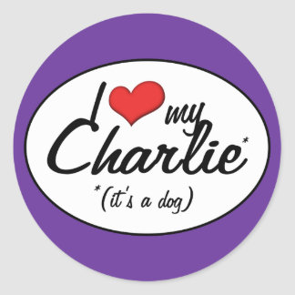 Amo a mi Charlie (es un perro) Pegatina Redonda