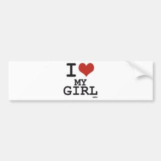 Amo a mi chica pegatina de parachoque