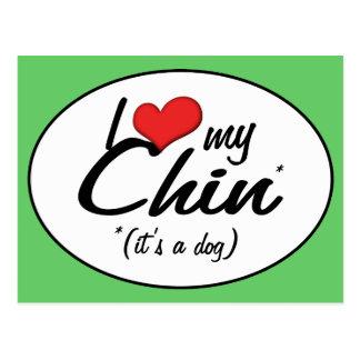 Amo a mi Chin (es un perro) Postal
