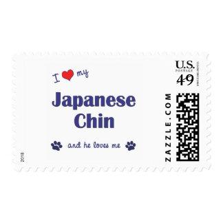 Amo a mi Chin japonés (el perro masculino) Sellos