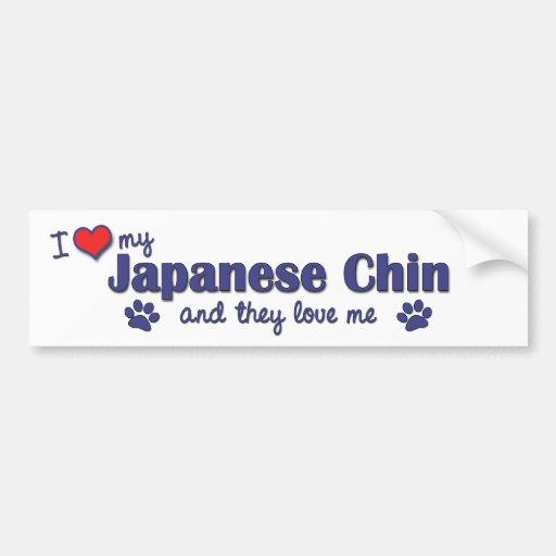 Amo a mi Chin japonés (los perros múltiples) Pegatina Para Auto