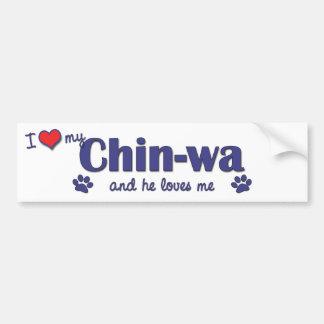 Amo a mi Chin-wa (el perro masculino) Pegatina Para Auto