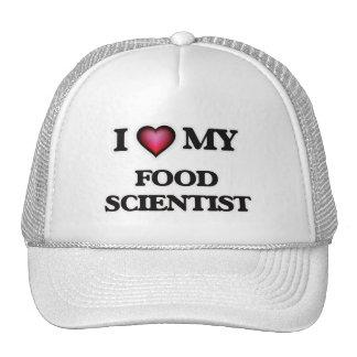 Amo a mi científico de la comida gorras