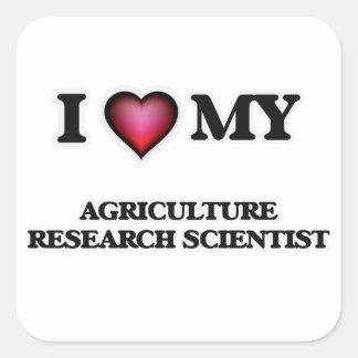 Amo a mi científico de la investigación de la pegatina cuadrada