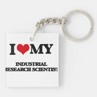 Amo a mi científico de la investigación industrial llavero cuadrado acrílico a doble cara