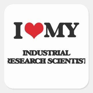 Amo a mi científico de la investigación industrial pegatina cuadrada