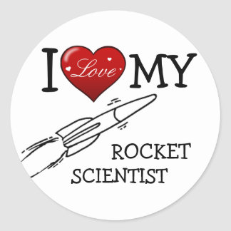 Amo a mi científico de Rocket Etiquetas Redondas