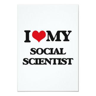 Amo a mi científico social invitación 8,9 x 12,7 cm