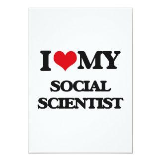 Amo a mi científico social invitación 12,7 x 17,8 cm