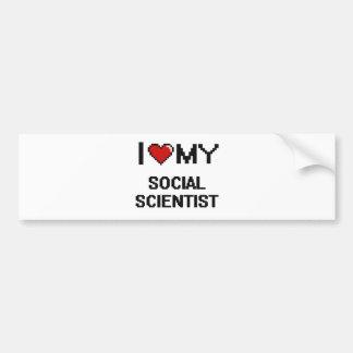 Amo a mi científico social pegatina para auto
