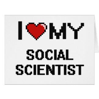 Amo a mi científico social tarjeta de felicitación grande