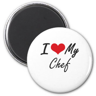 Amo a mi cocinero imán redondo 5 cm