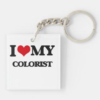 Amo a mi Colorist Llavero Cuadrado Acrílico A Doble Cara