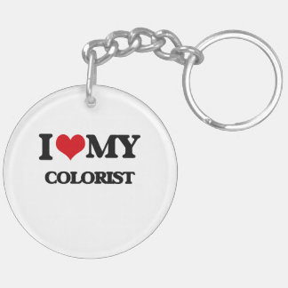 Amo a mi Colorist Llavero Redondo Acrílico A Doble Cara