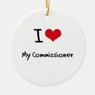 Amo a mi comisión adorno navideño redondo de cerámica