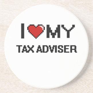 Amo a mi consejero de impuesto posavasos personalizados