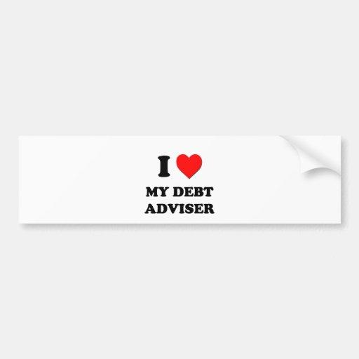 Amo a mi consejero de la deuda pegatina de parachoque