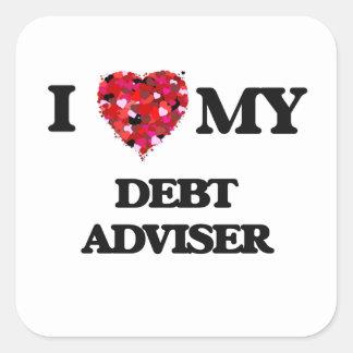 Amo a mi consejero de la deuda pegatina cuadrada