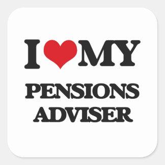 Amo a mi consejero de las pensiones calcomanía cuadradas