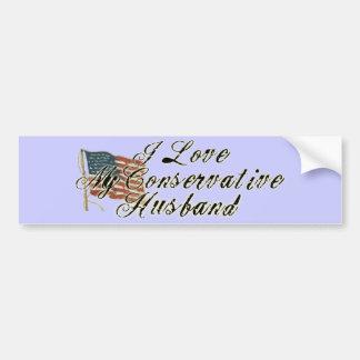 Amo a mi conservador del marido pegatina para auto
