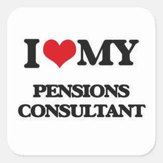 Amo a mi consultor de las pensiones calcomanías cuadradass