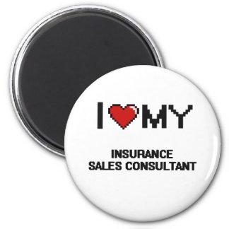 Amo a mi consultor de las ventas del seguro imán redondo 5 cm