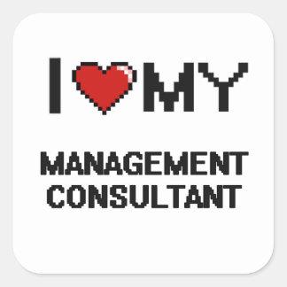 Amo a mi consultor en administración de empresas pegatina cuadrada