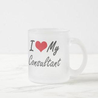 Amo a mi consultor taza de cristal