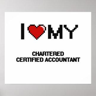 Amo a mi contable certificado cargado póster