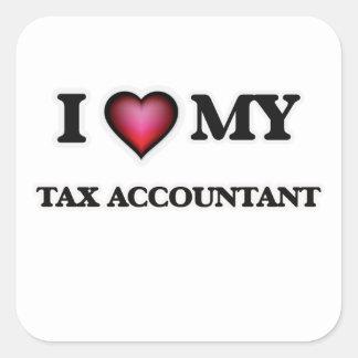 Amo a mi contable del impuesto pegatina cuadrada