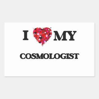 Amo a mi cosmólogo pegatina rectangular