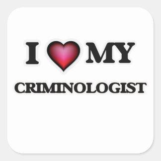 Amo a mi criminalista pegatina cuadrada