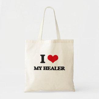 Amo a mi curador bolsa lienzo
