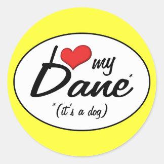 Amo a mi danés (es un perro) pegatina redonda
