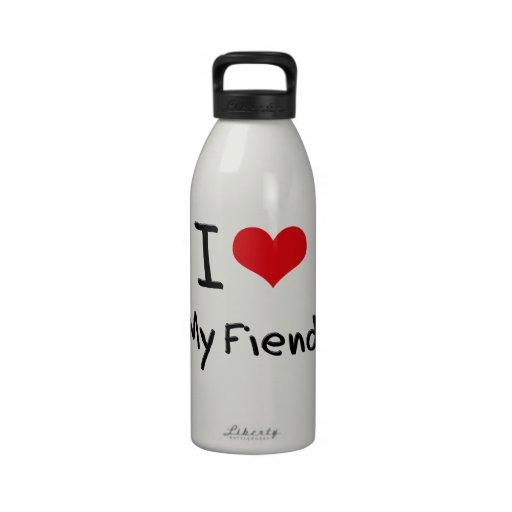 Amo a mi demonio botella de agua reutilizable