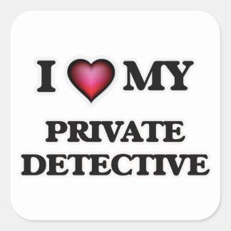 Amo a mi detective privado pegatina cuadrada