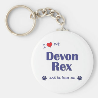 Amo a mi Devon Rex (el gato masculino) Llavero Redondo Tipo Pin